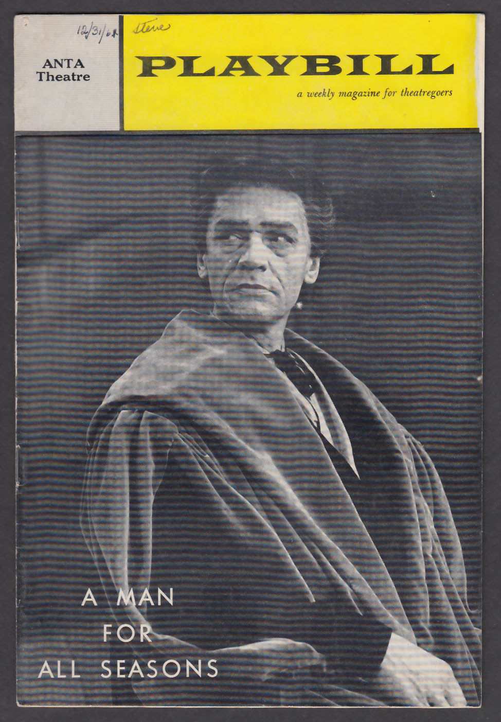 Image for Paul Scofield Man for All Seasons 1st run Playbill 1962