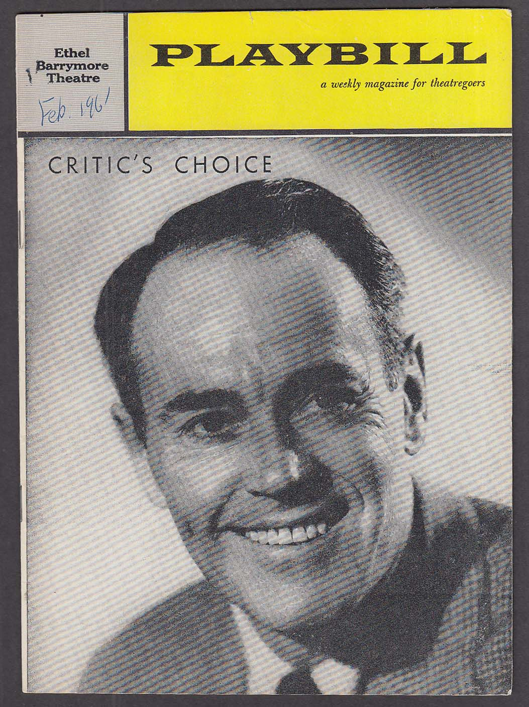 Image for Henry Fonda Critic's Choice 1st run Playbill 1961