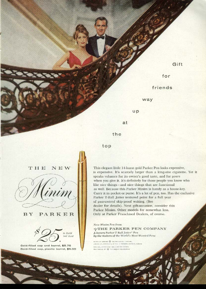 Image for Gift for friends at the top Parker Minim Ballpoint Pen ad 1959