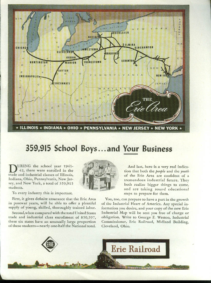 Image for 359,915 school boys & YOUR business Erie Railroad ad 1944