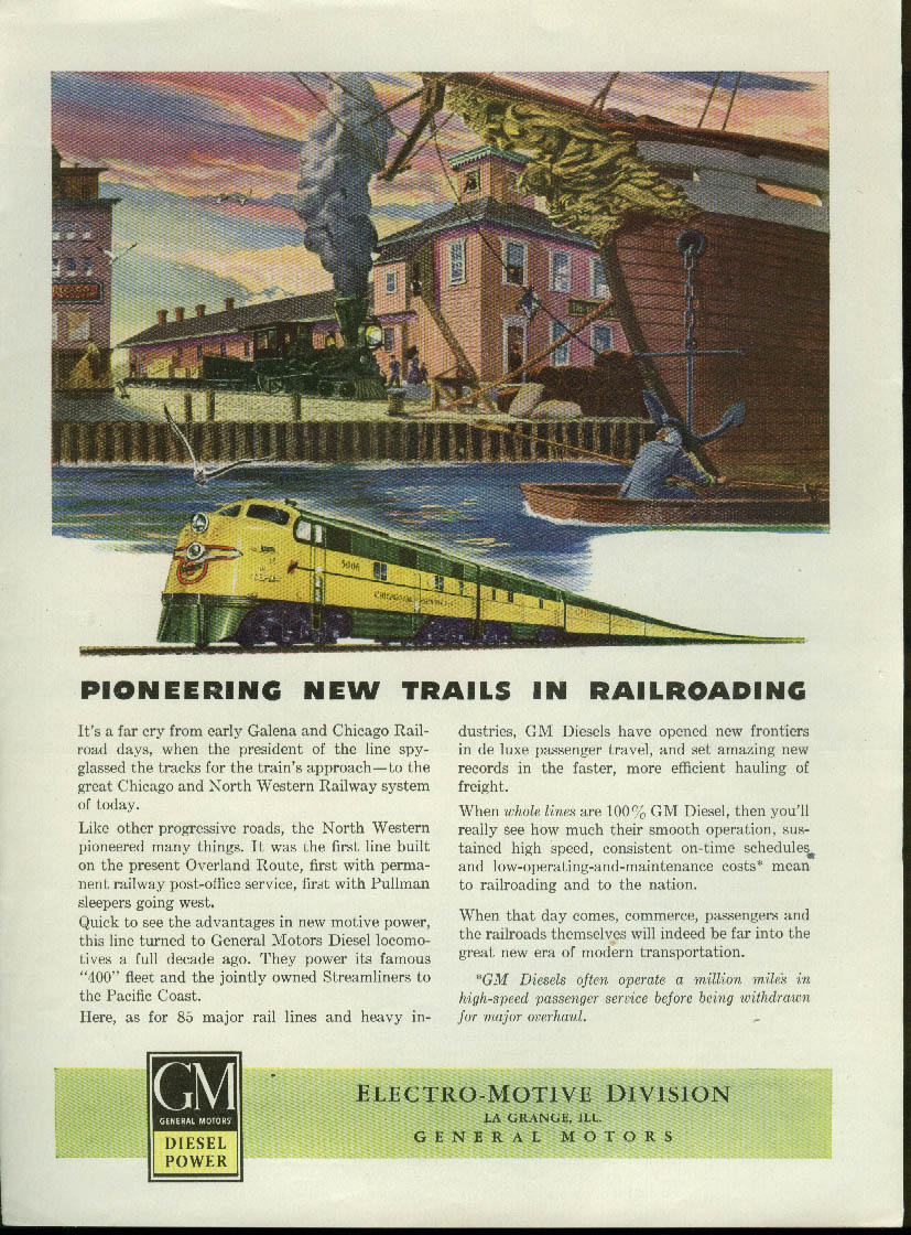 Image for Pioneering New Trails Chicago & North Western Railway GM Diesel ad 1946
