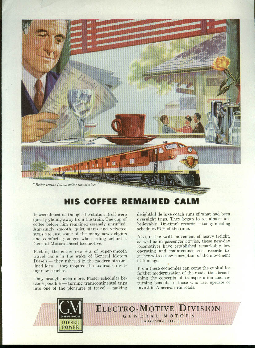 Image for His coffee remained calm GM Electro-Motive Diesel Locomotive ad  1946`