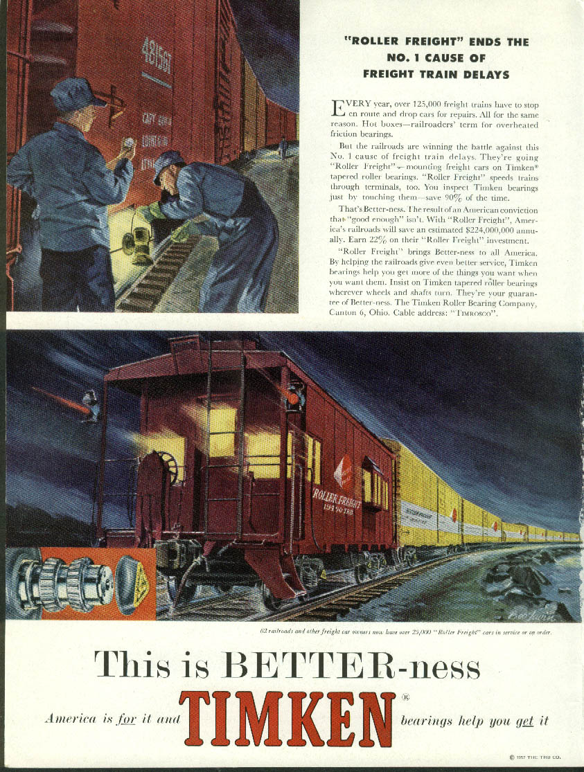 Image for Roller Freight ends #1 Cause of Freight Train Delays Timnken Bearings ad 1958