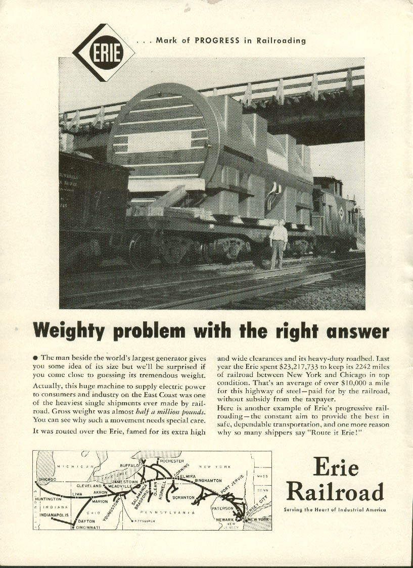 Image for Weighty problem with the right answer Erie Railroad ad 1953