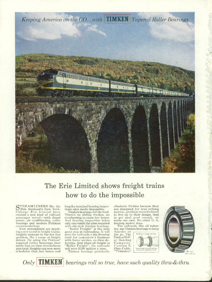 Image for Erie RR Limited shows freights how to do impossible Timken Bearings ad 1955