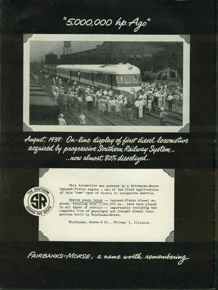 Image for 5,000,000 HP ago Southern RR Fairbanks-Morse Opposed-Piston Loco ad 1951