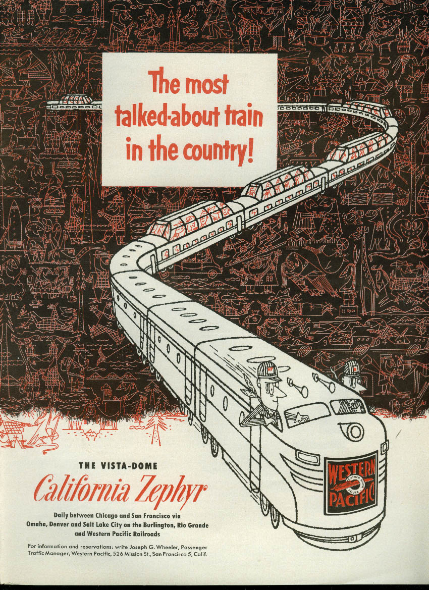 Image for Most talked about train! Western Pacific California Zephyr Vista-Dome ad