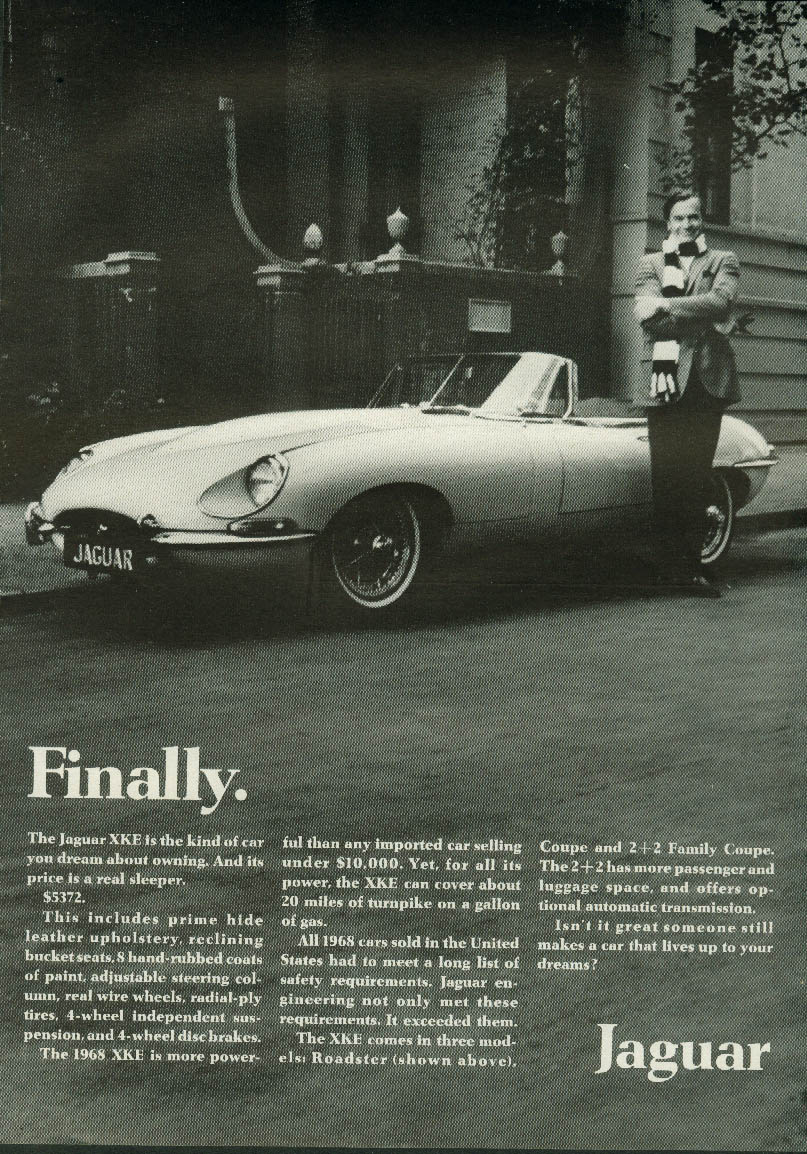 Image for Finally. Its price is a real sleeper $5372. Jaguar XK-E Roadster ad 1968