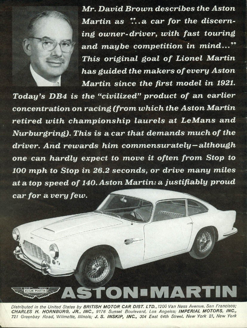 Image for For the discerning owner-driver w/ fast touring in mind Aston-Martin DB4 ad 1962