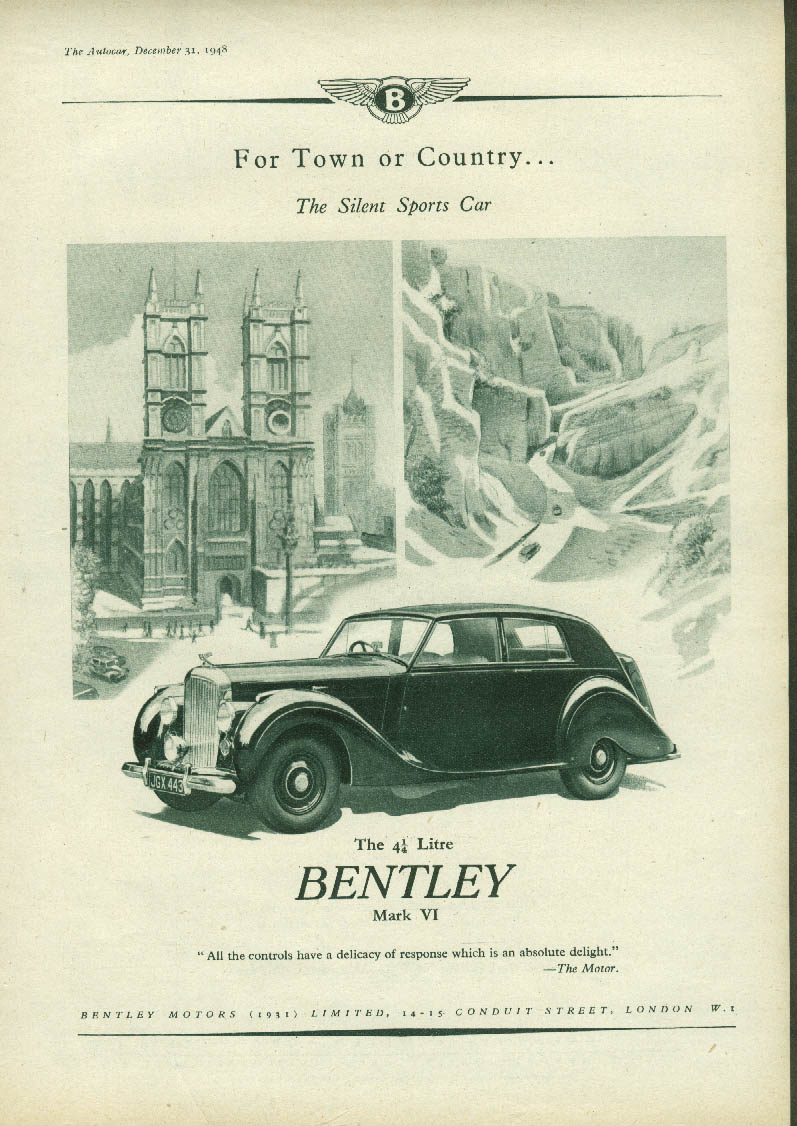 Image for For Town and Country The Silent Sports Car Bentley Mark VI ad 1948 1949