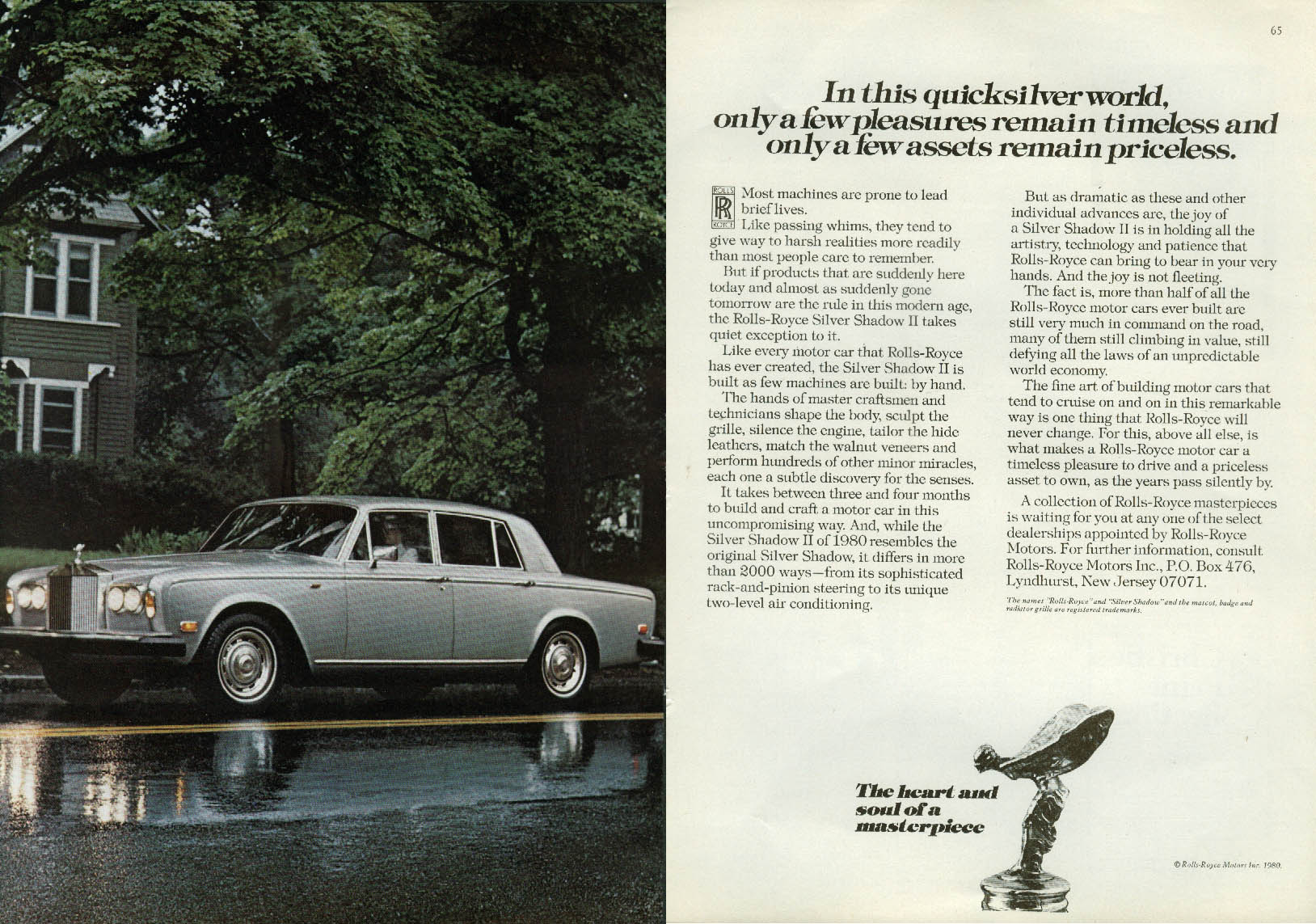 Image for In a quicksilver world few assets remain priceless Rolls-Royce ad 1980