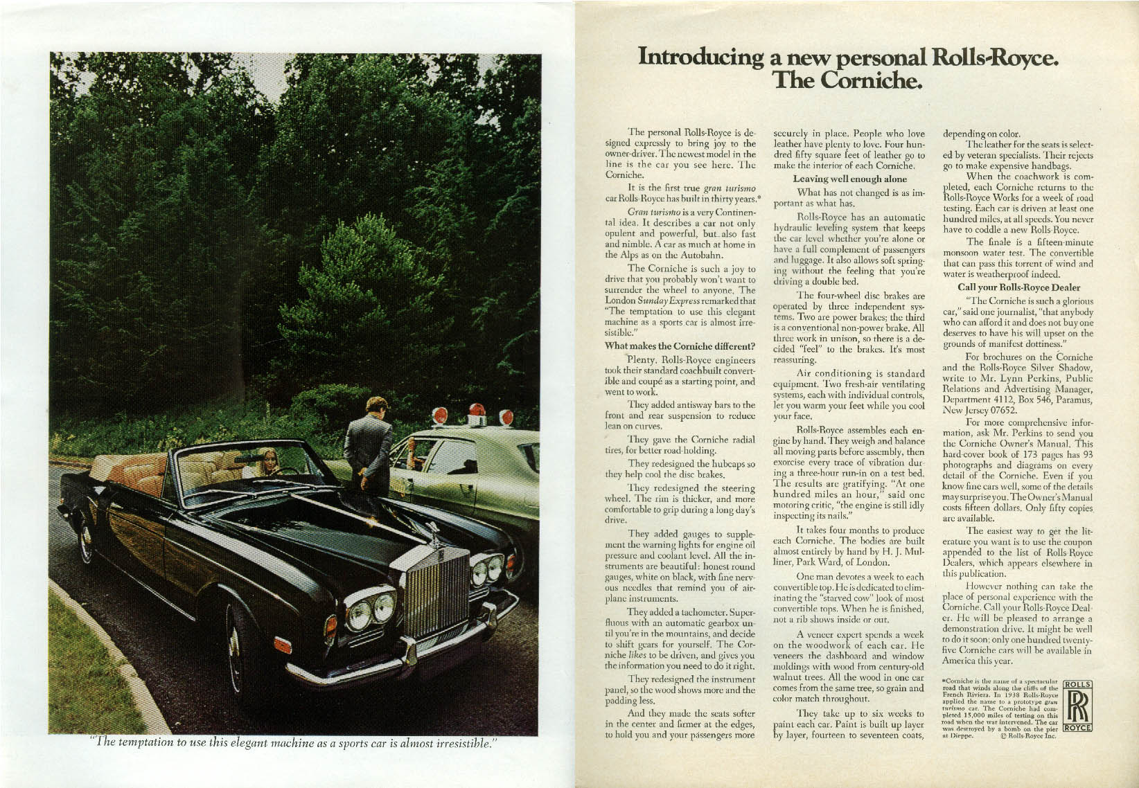 Image for Introducing a new personal Rolls-Royce. The Corniche ad 1972