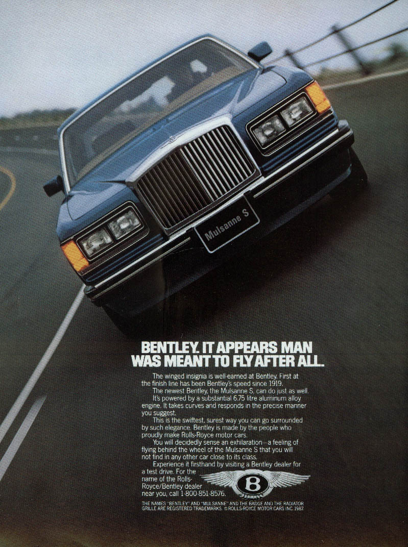 Image for It appears man was meant to fly after all Bentley Mulsanne S ad 1988