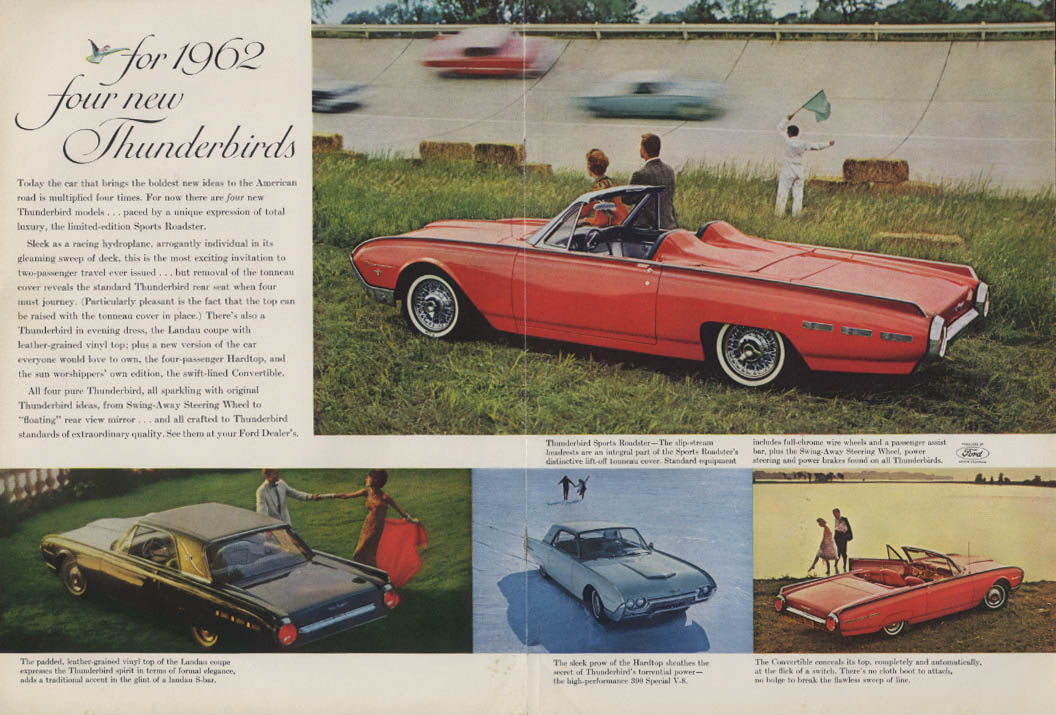 Image for For 1962 four new Thunderbirds Thunderbird Sports Roadster Landau ad