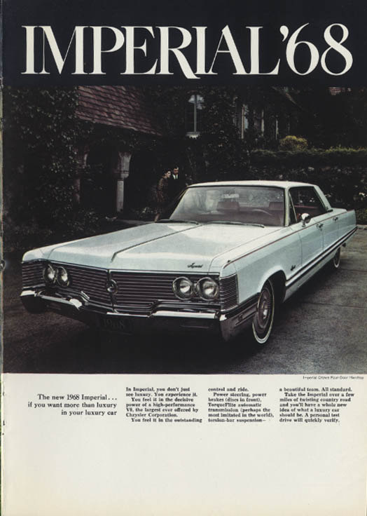 Image for If you want more than luxury in your luxury car Imperial by Chrysler ad 1968