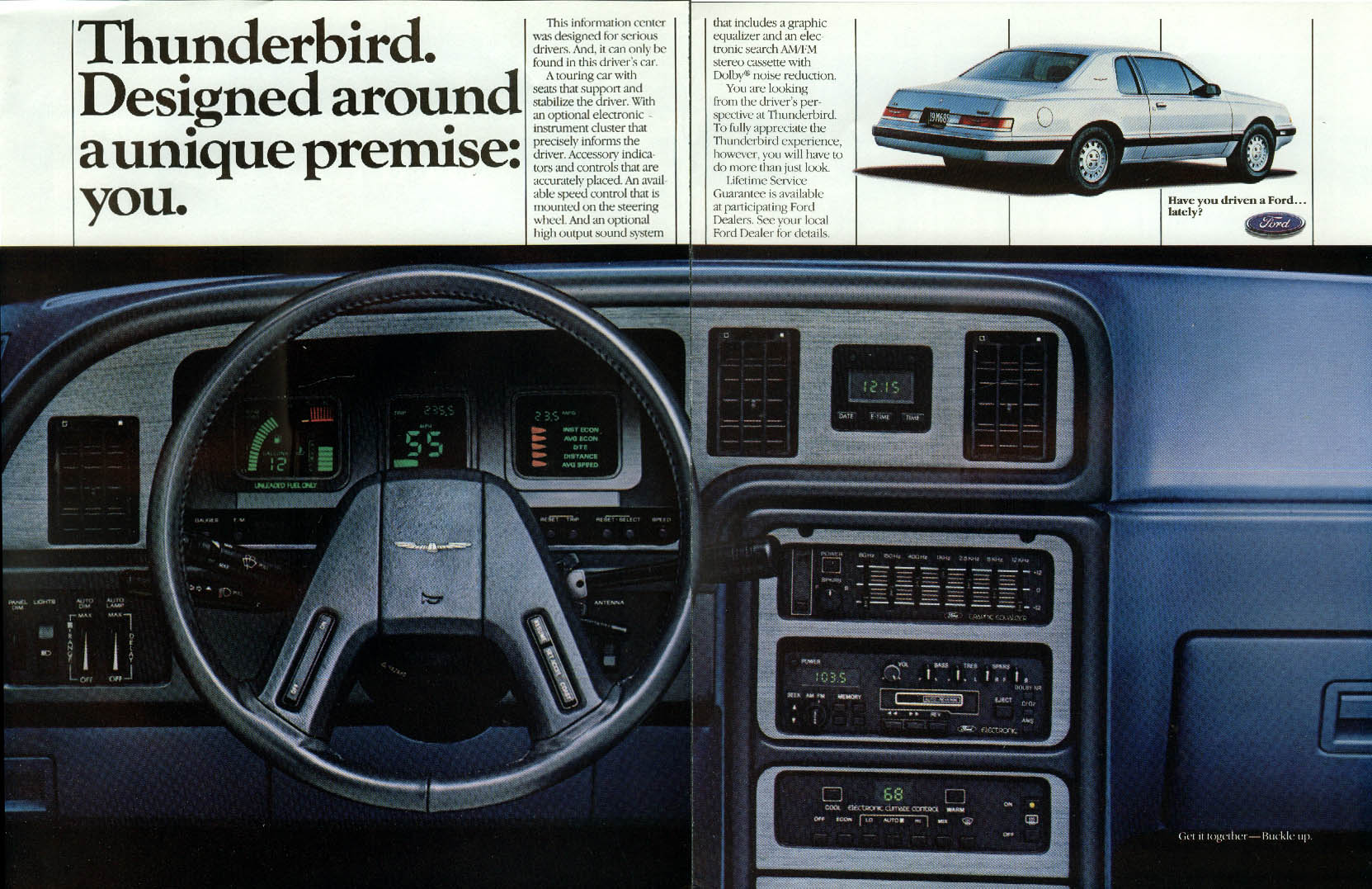 Image for Designed around a unique premise: you. Ford Thunderbird ad 1985
