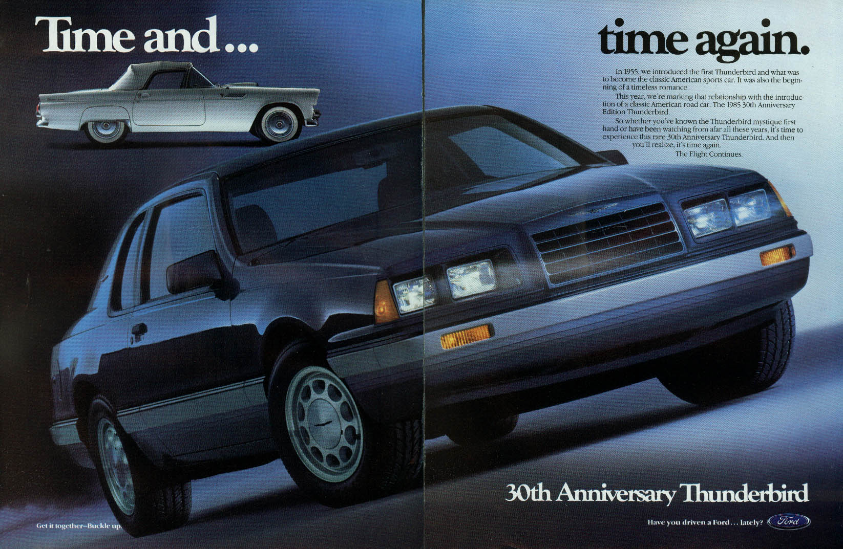 Image for Time and time again. Ford Thunderbird 1955 & 1985 ad