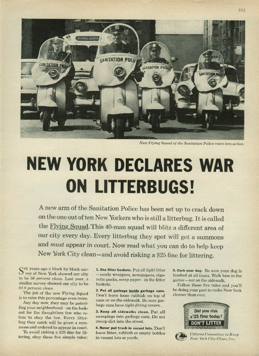 Image for New York declares war on litterbugs! Keep NY Clean ad 1962 Vespa Motorscooter