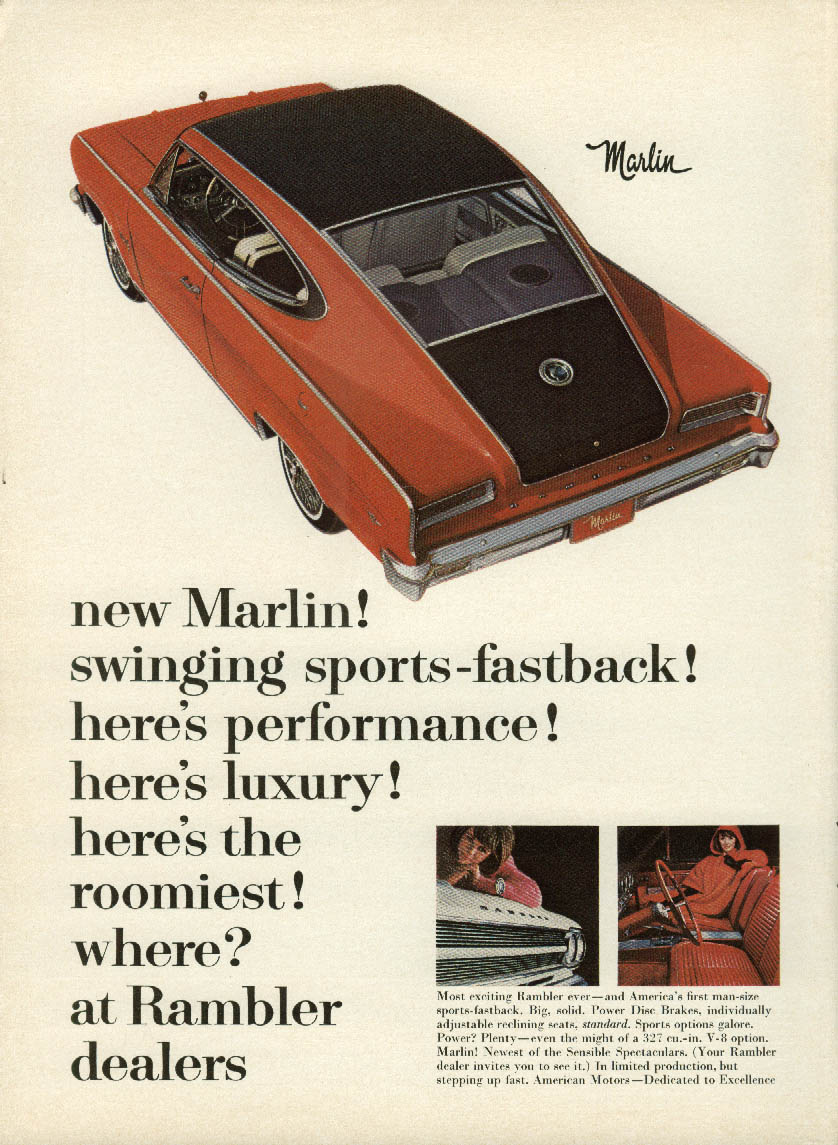 Image for Swinging sports-fastback AMC Marlin ad 1965 New Yorker