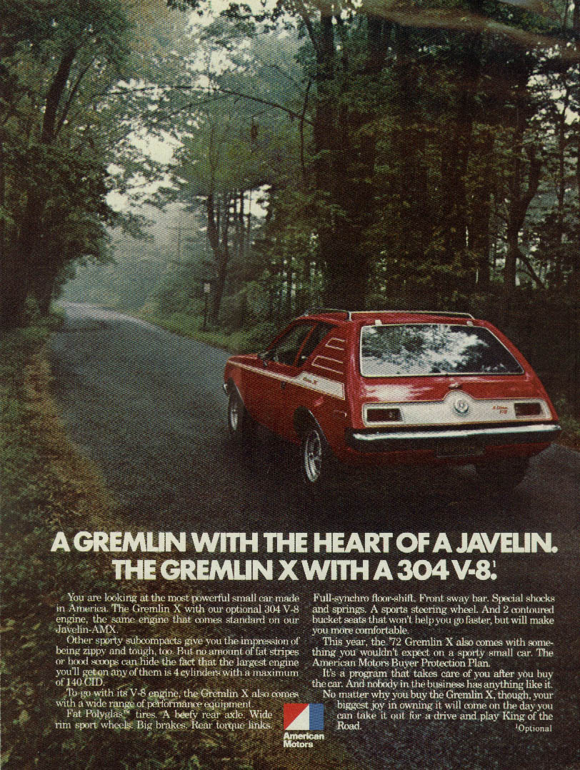 Image for A Gremlin with the Heart of a Javelin Gremlin X 304 V-8 AMC ad 1972
