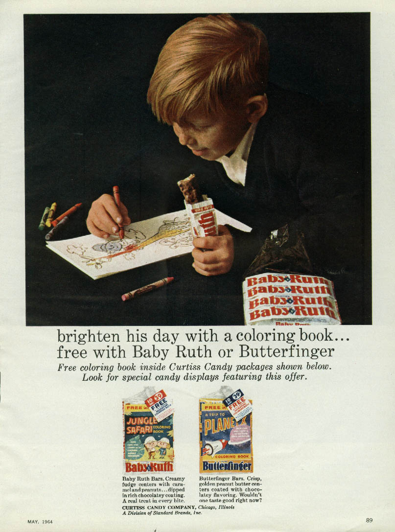 Image for Brighten his day with a coloring book Baby Ruth Butterfinger candy ad 1964