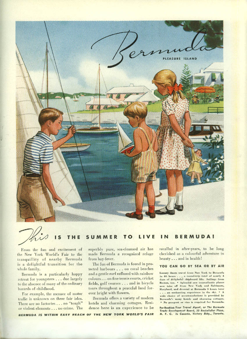 Image for This is the summer to live in Bermuda! Tourism ad 1939 kids at play dockside