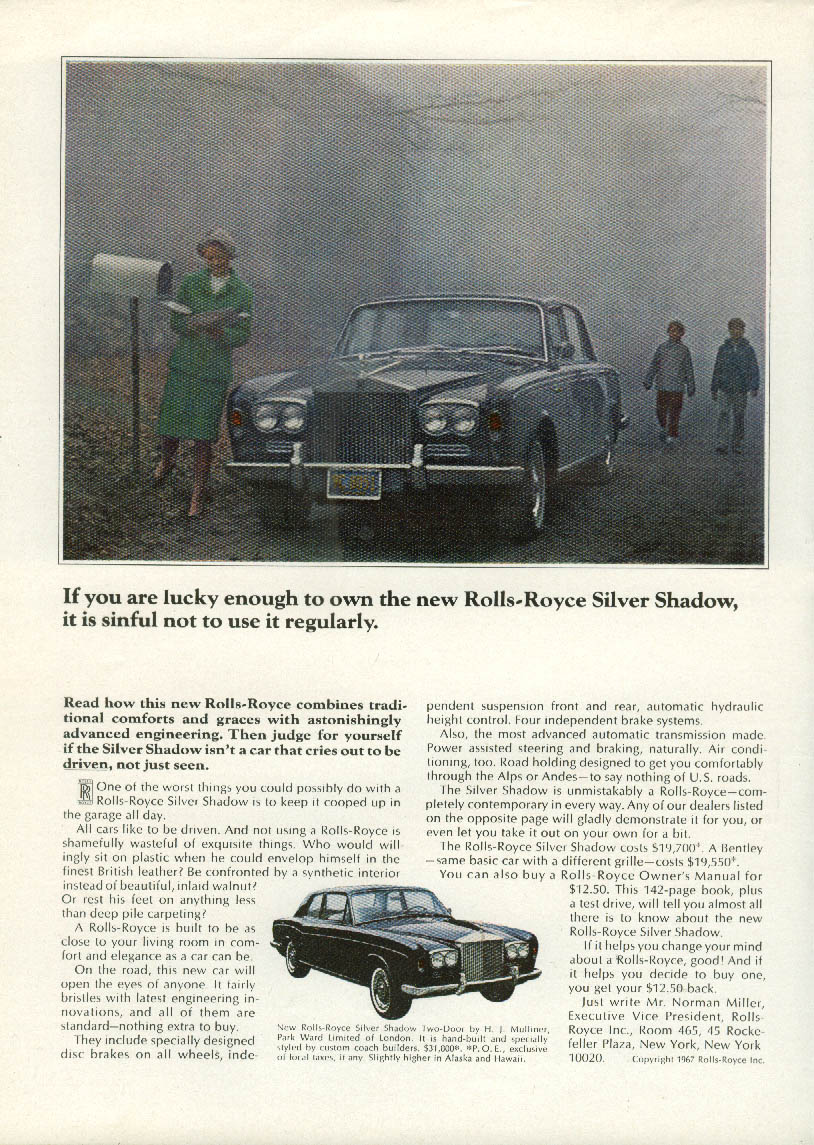 Image for If you're lucky enough to own Rolls-Royce Silver Shdaow, it's sinful ad 1967