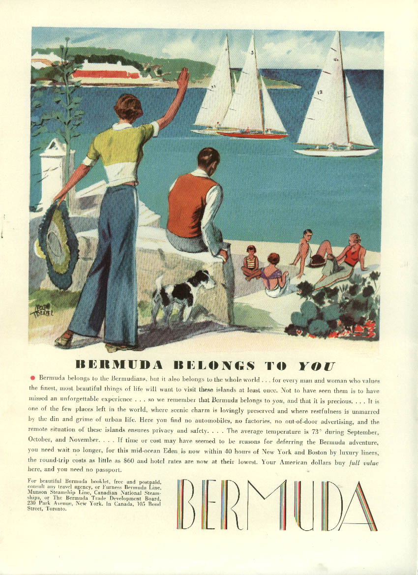 Image for Bermuda belongs to You Tourism ad 1934 Adolph Treidler sailboats