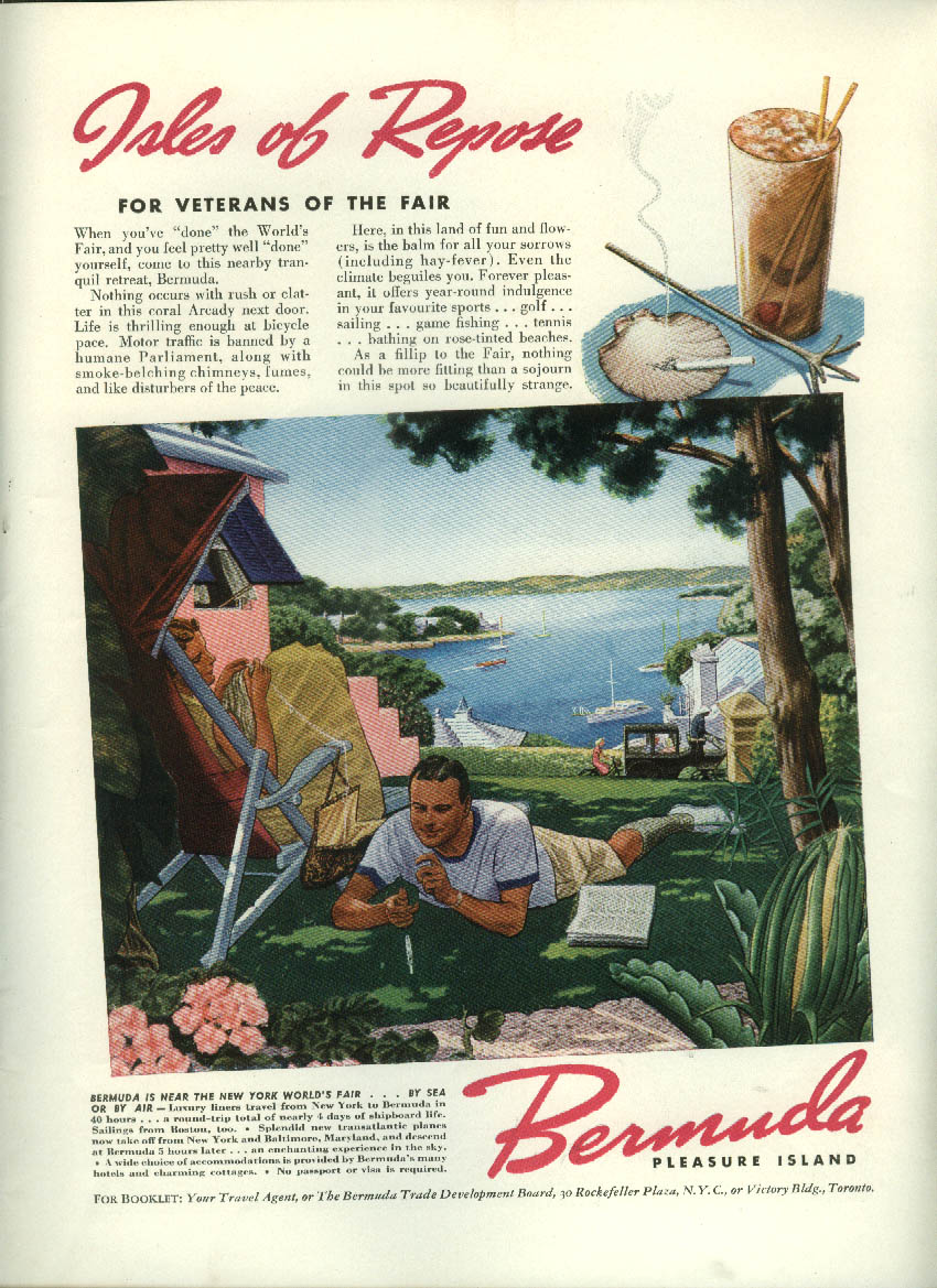 Image for Isles of Repose for Veterans of NY World's Fair Bermuda Tourism ad 1939
