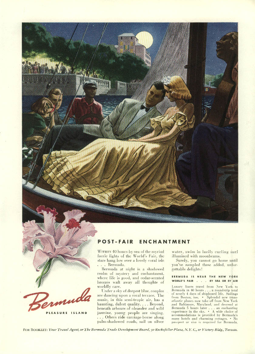 Image for Post-Fair Enchantment Bermuda Tourism ad 1939 New York World's Fair mention