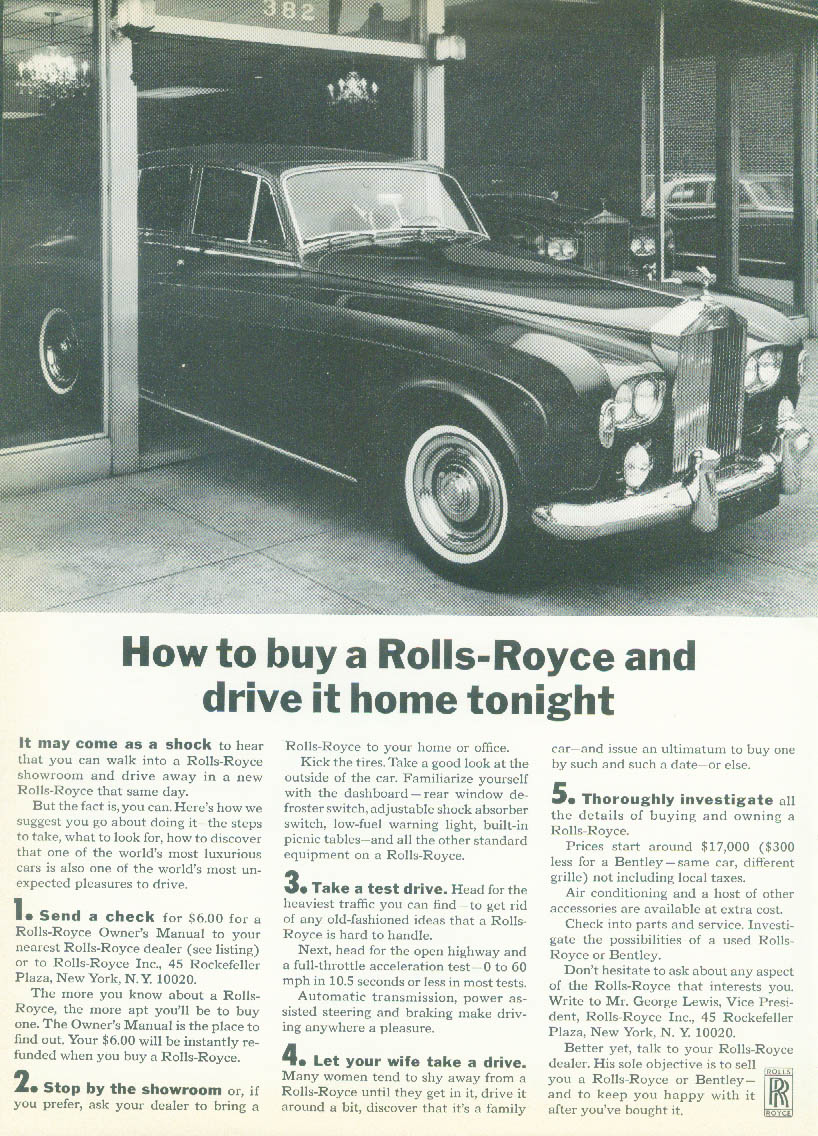 Image for How to buy a Rolls-Royce & drive it home tonight ad 1965 NY