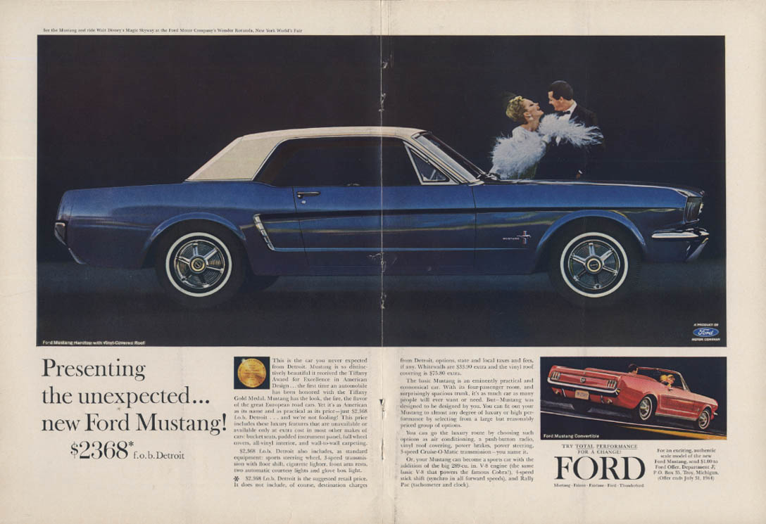 Image for Presenting the unexpected Ford Mustang Hardtop ad 1964 NY