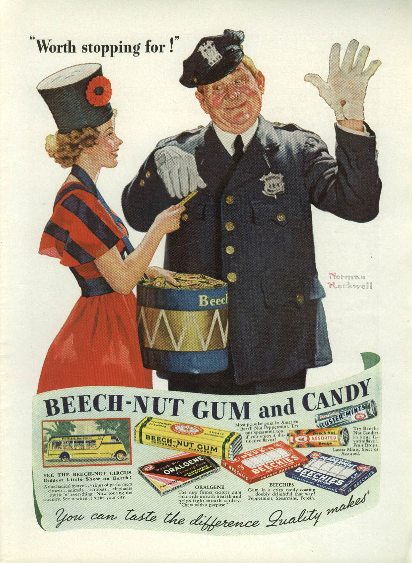 Image for Worth stopping for! Beech-Nut Gum & Candy ad 1937 Norman Rockwell T