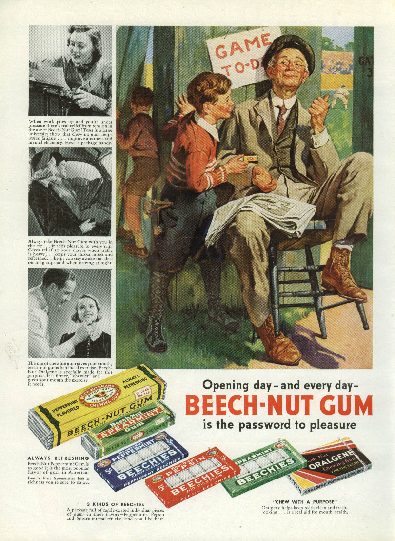 Image for Opening Day Baseball Beech-Nut Gum ad 1938 kids sneak thru fence