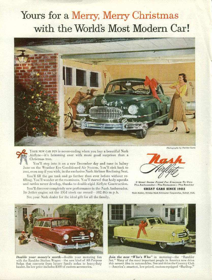 Image for Yours for a Merry Merry Christmas Nash Airflyte & Rambler ad 1952
