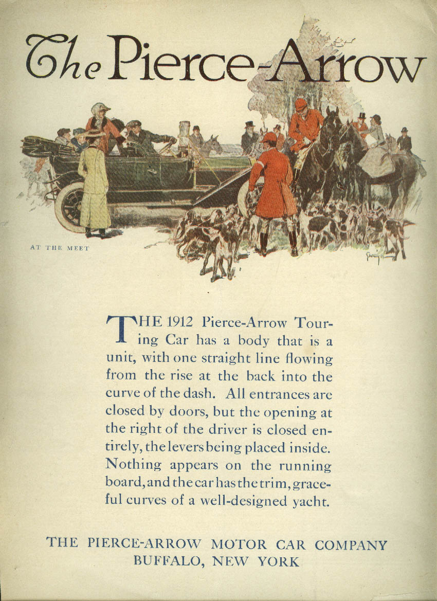 Image for One straight line flowing Pierce-Arrow Touring Car ad 1912