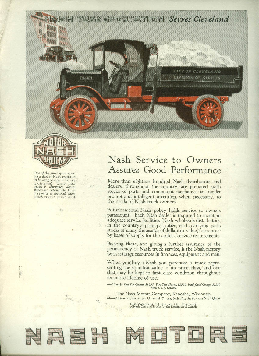 Image for Service Assures Good Performance Nash Truck ad 1921 Cleveland Dept of Streets LD