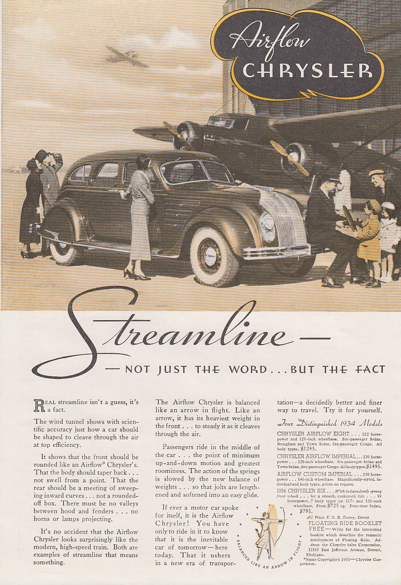 Image for At 45 Miles an Hour a Miracle Happens Chrysler & De Soto Airflow ad 1934