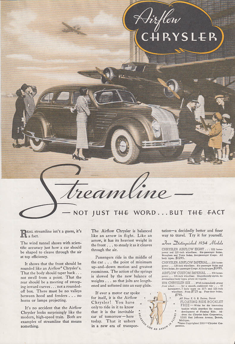 Image for Streamline - not just the word but the fact Chrysler Airflow ad 1934 Am