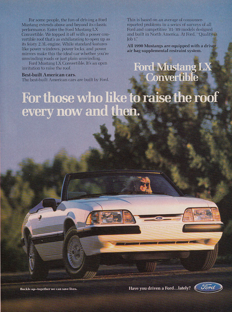 Image for For those who like to raise the roof Ford Mustang LX Convertible ad 1990 GL