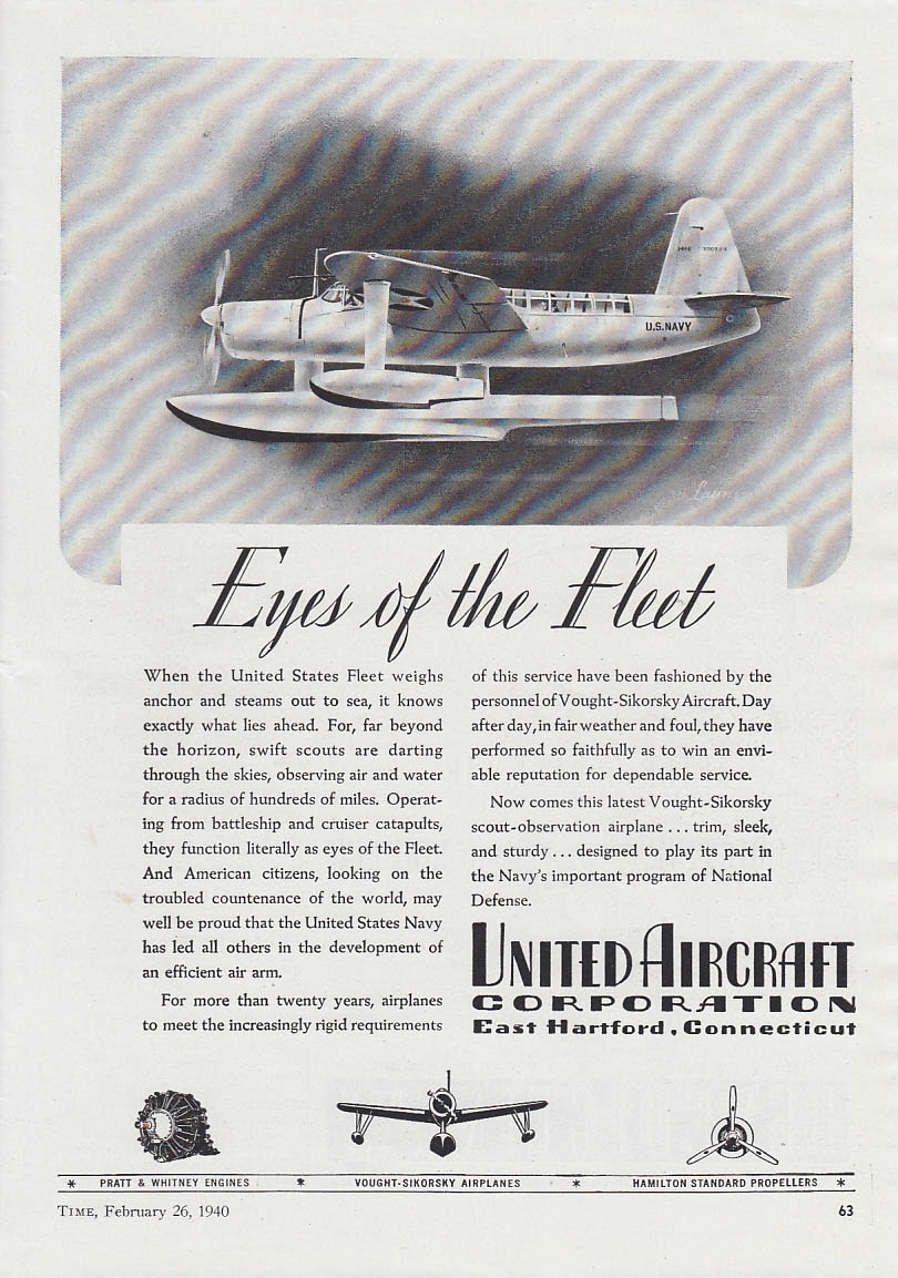 Image for Eyes of the Fleet Vought-Sikorsky OS2U Seaplane United Aircraft ad 1940 T