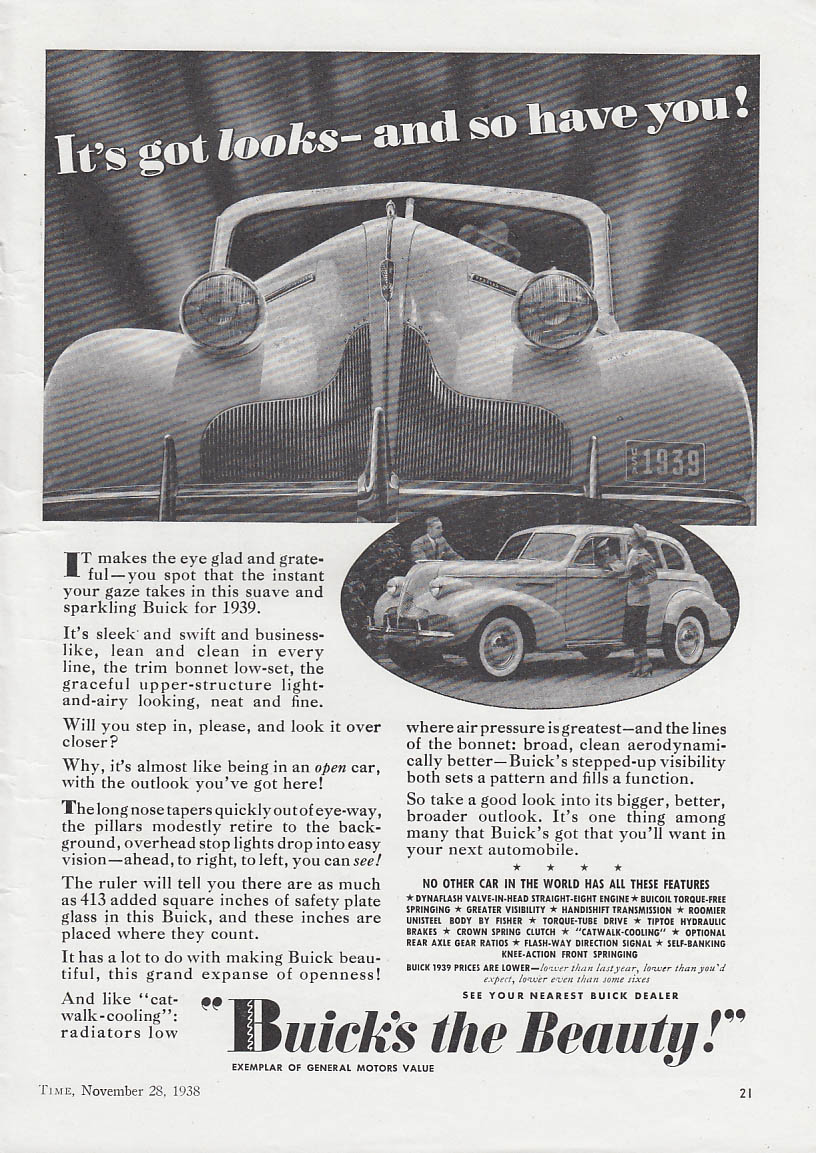 Image for It's got looks and so have you! Buick Sedan ad 1939 T