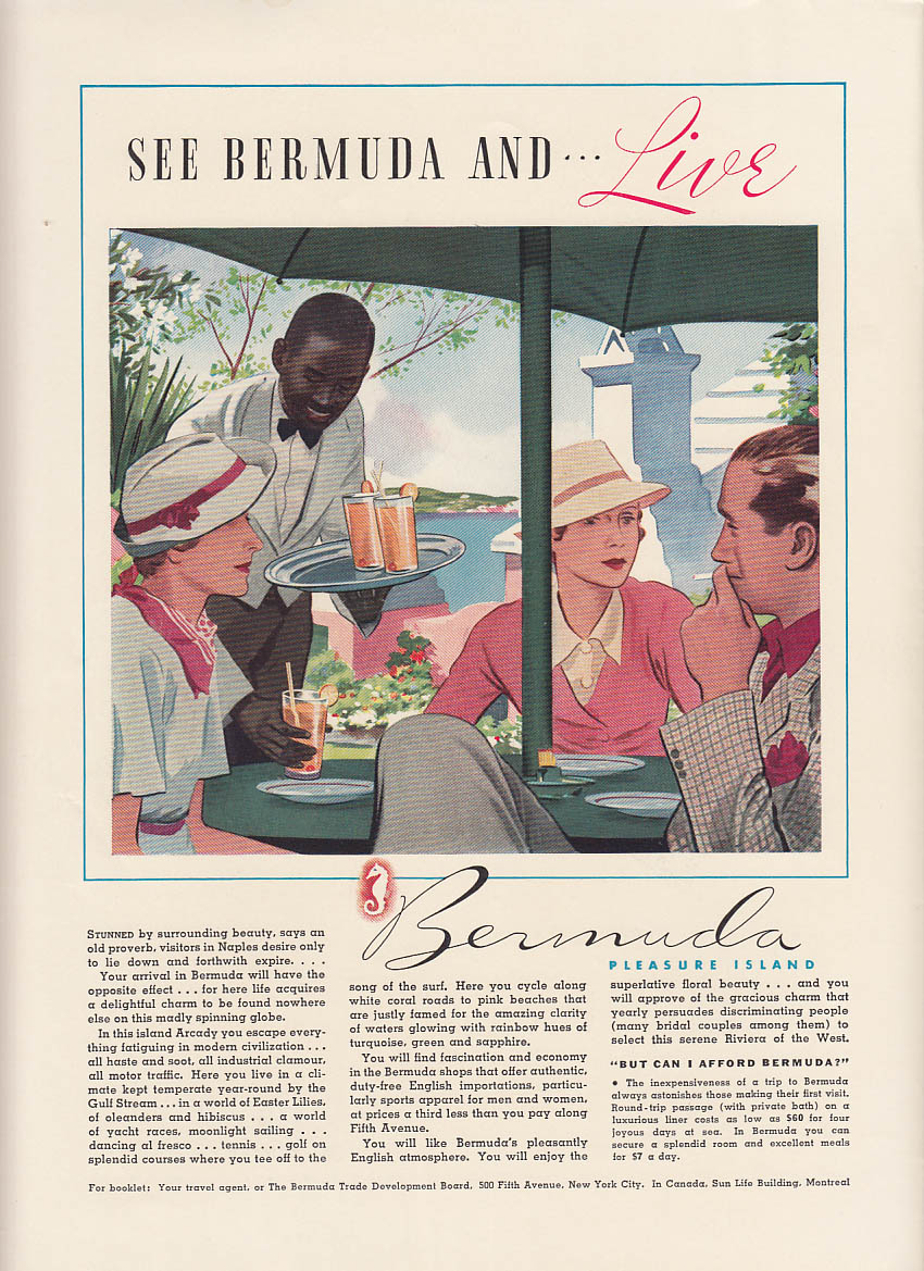 Image for See Bermuda and Live! Pleasure Island ad 1936 NY