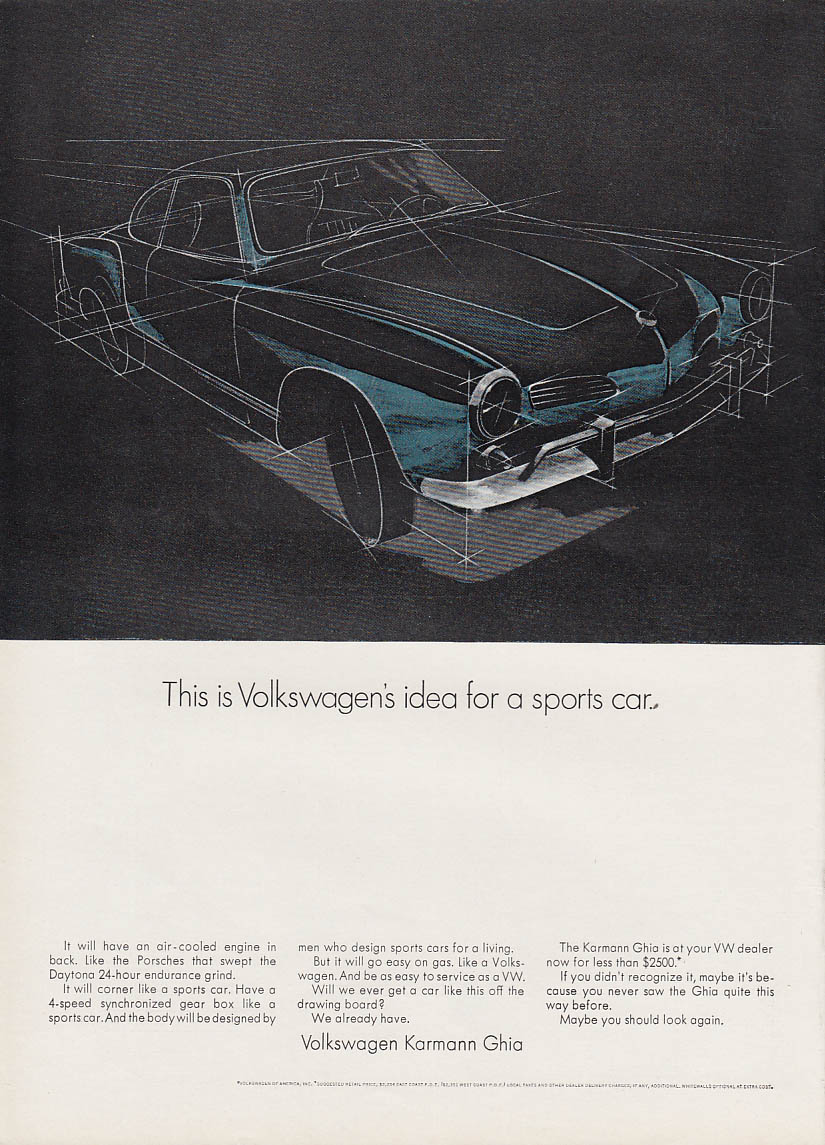 Image for This is Volkswagen's idea for a sports car. Karmann Ghia ad 1968 NY