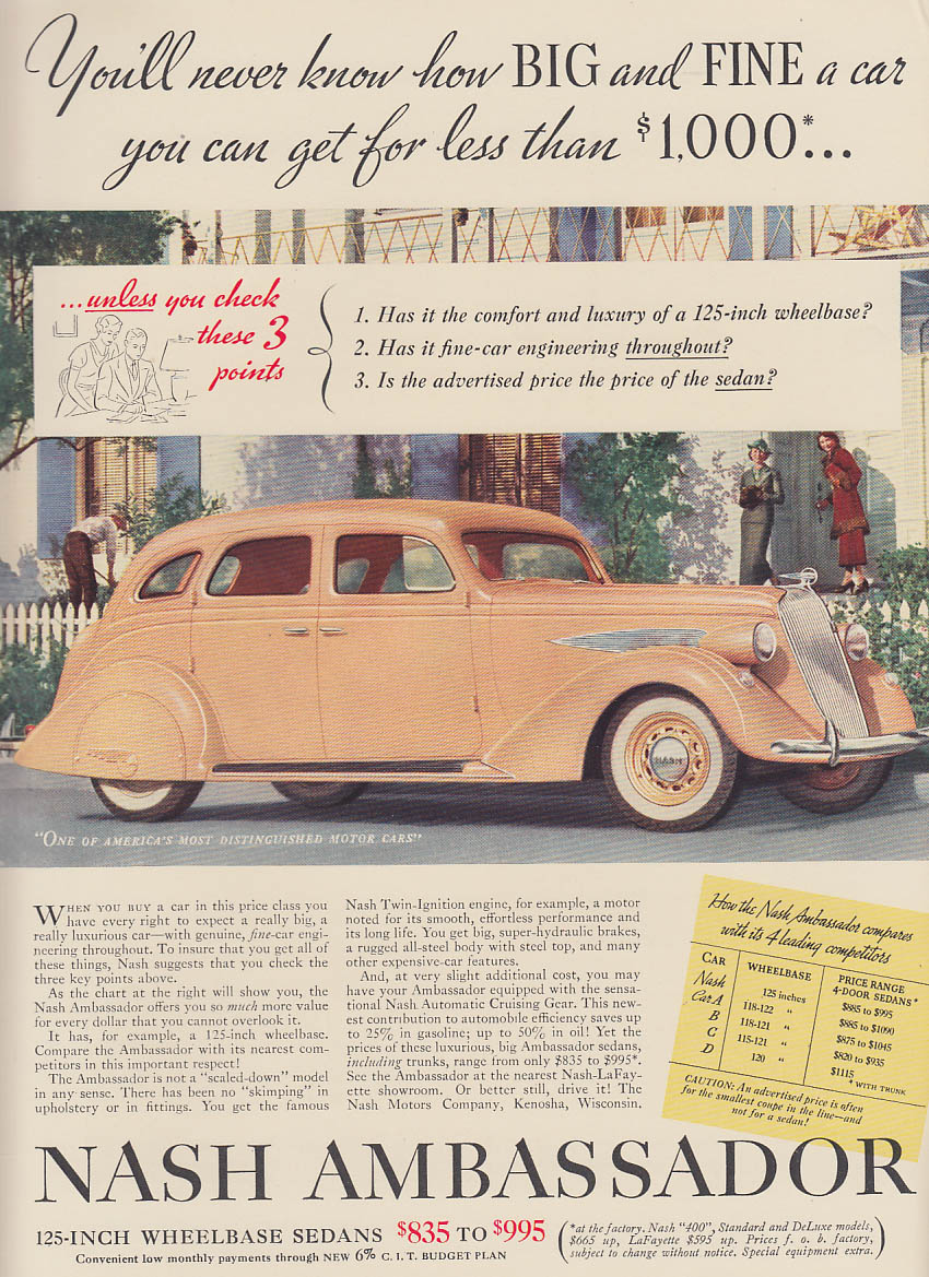 Image for You'll never know how big & fine - Nash Ambassador Sedan ad 1936 NY