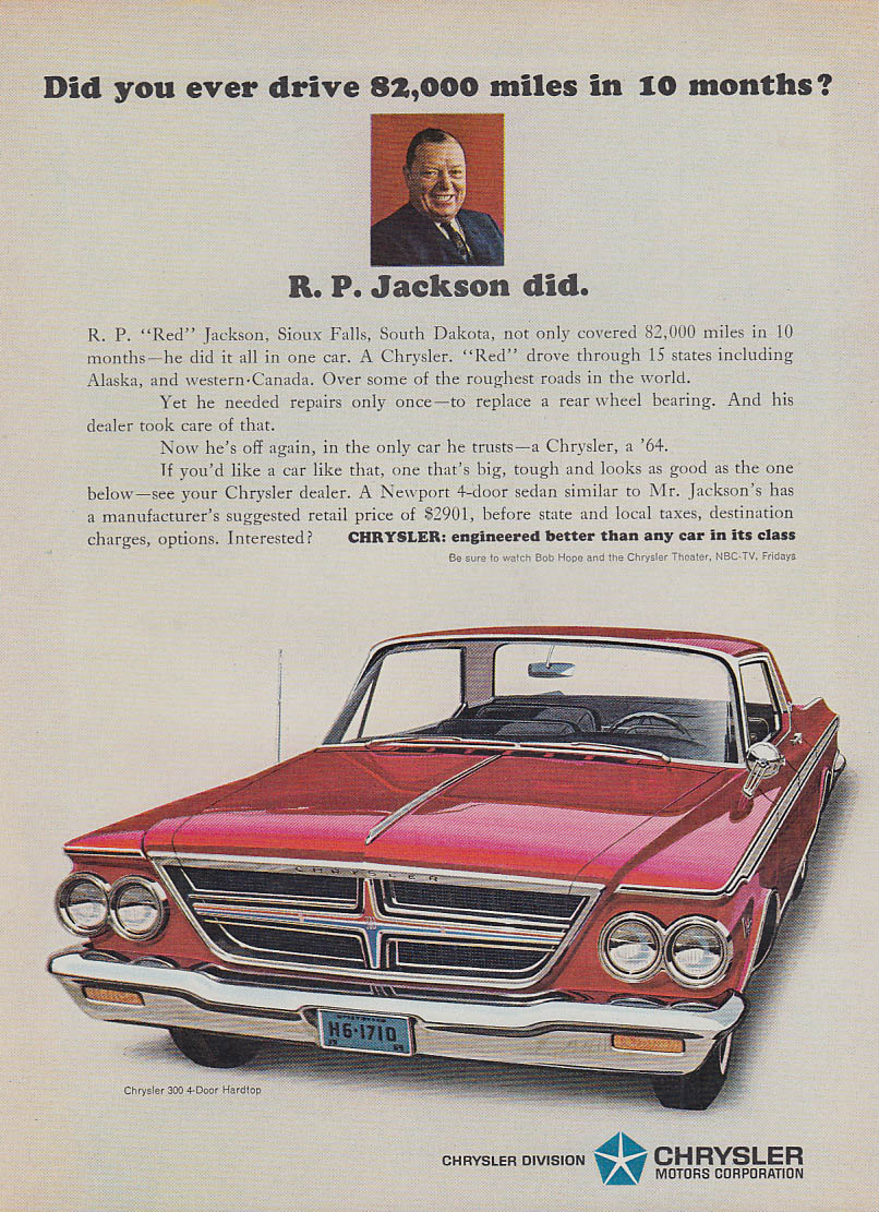 Image for Did you ever drive 82,000 miles in 10 months? Chrysler 300 ad 1964 SI