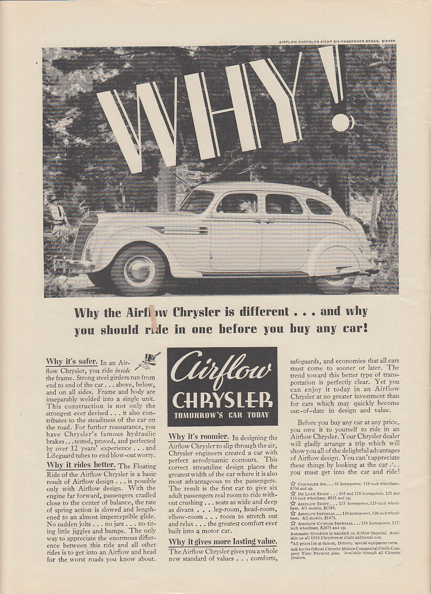 Image for Why the Airflow Chrysler is different & why you should ride one ad 1936 NY