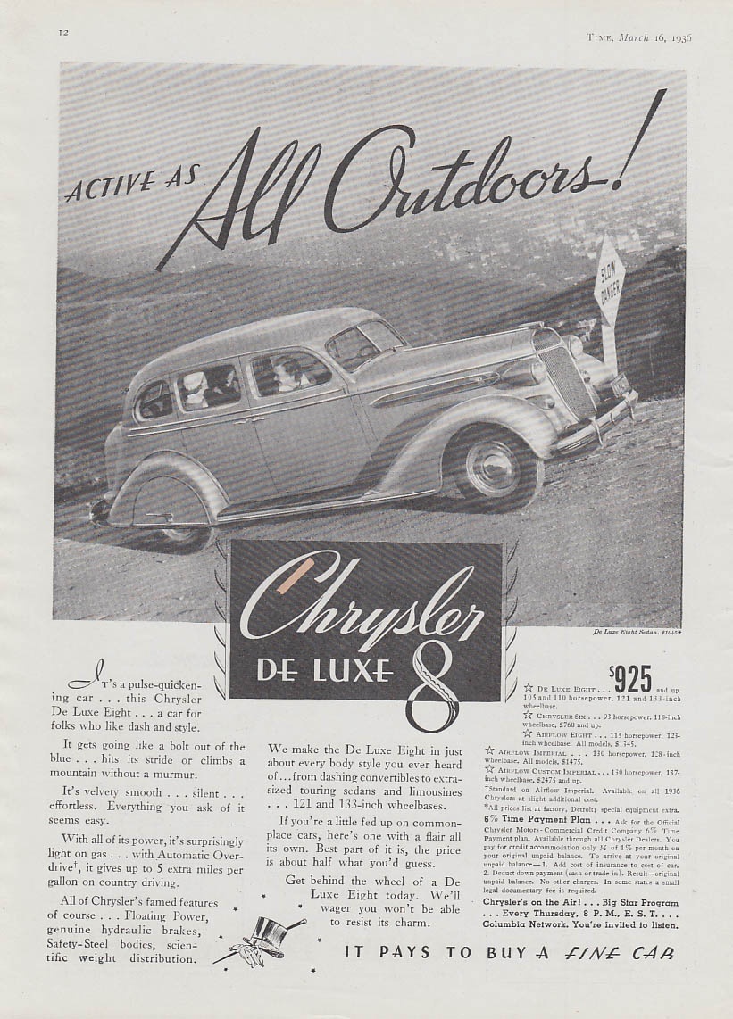 Image for Active as all outdoors! Chrysler De Luxe Eight Sedan ad 1936 T