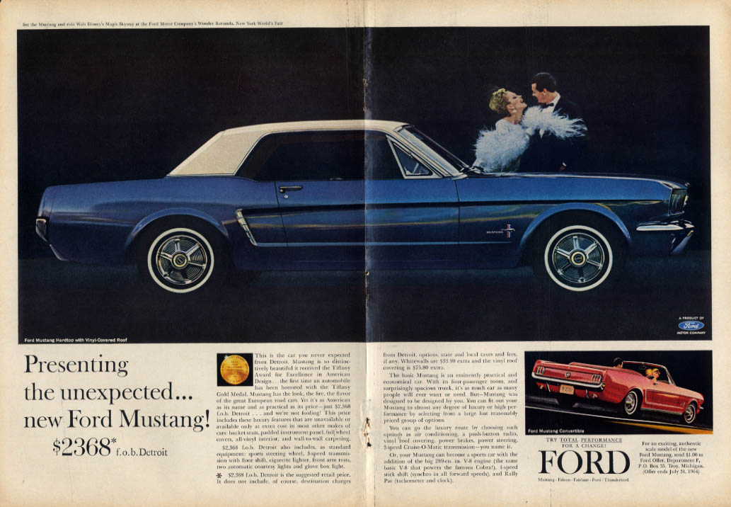 Image for Presenting the unexpected - new Ford Mustang $2368 ad 1964 T