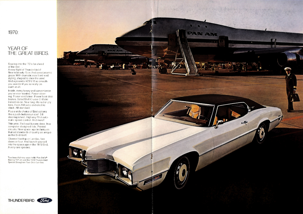 Image for Year of the Great Birds Ford Thunderbird & Boeing 747 ad 1970 NY